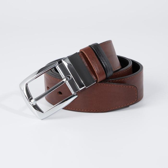 Ремень мужской, ширина 3,5 см, пряжка металл, цвет коричневый - фото 776167
