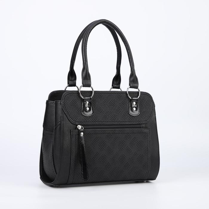Сумка женская, отдел с перегородкой на молнии, 2 наружных кармана, длинный ремень, цвет чёрный - фото 776234