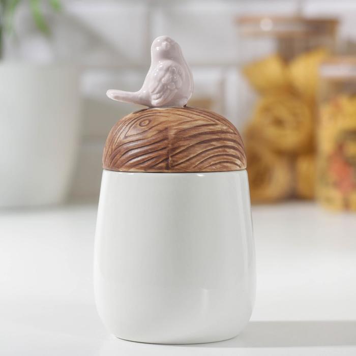 Банка для сыпучих продуктов «Соловушка», 7,5×15,5 см, цвет белый - фото 416399