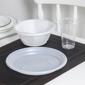 Tableware set: 600 ml bowl, 205 mm plate, 200 ml glass transparent