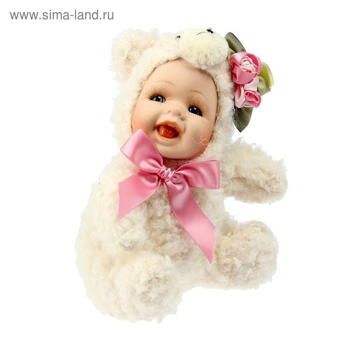 """Кукла коллекционная """"Малыш в костюме мишки"""""""