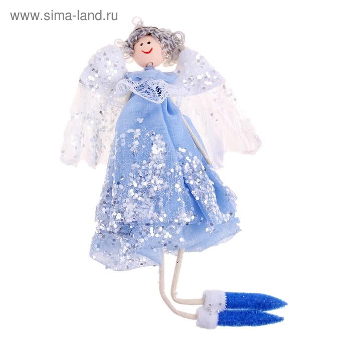 """Фигурка новогодняя """"Воздушный ангел"""" в голубом, сложенные крылья"""