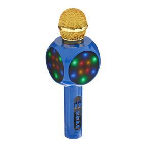Колонка-микрофон для караоке WS-1816ch, 2х3 Вт, 2600 мАч, подсветка, синий