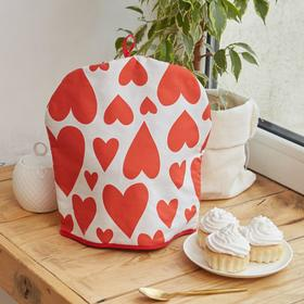 "Грелка на чайник ""Этель"" Red hearts 28х28см, 100% хл., 190г/м2"