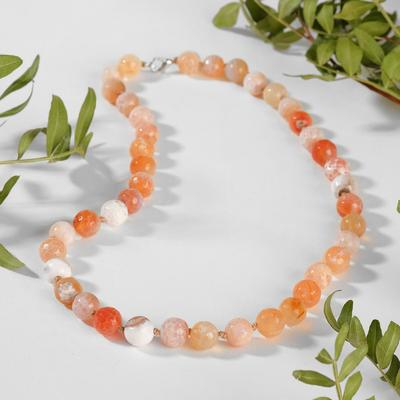 "Beads ball No. 10 faceted through the knot ""Agate"", color white-orange, 50cm"