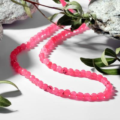 """Beads ball No. 4 faceted """"Agate"""", color bright pink, 48cm"""