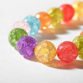 """Бусины на нити шар №14 гранёный """"Кварц сахарный"""", разноцветные, 38см"""