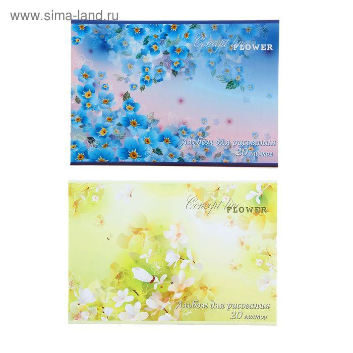 """Альбом для рисования А4, 20 листов на скрепке """"Полевые Цветы"""", обложка картон 190-215г/м2, блок офсет 100г/м2, МИКС"""