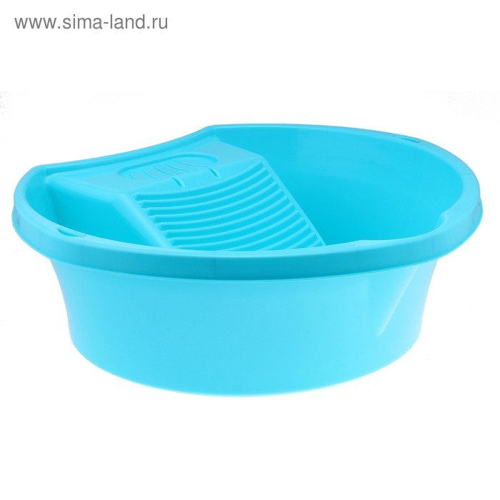 """Таз пластиковый для стирки 9 л """"Стиральная доска"""", цвет бирюза"""