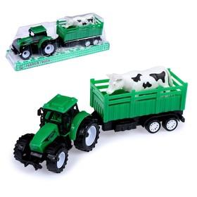 Трактор инерционный «Фермер» с животным, МИКС