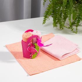 Набор полотенец в корзинке Этель «Фламинго» 30х30см - 2шт, цв.розовый/персиковый, 100% хл