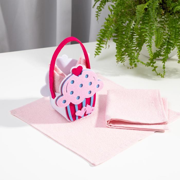 Набор полотенец в корзинке Этель «Сладкоежка» 30х30см - 2шт, цв.розовый, 100% хл - фото 768637