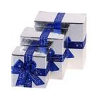 """Набор коробок 3 в 1 квадратные """"Комплимент"""", рисунок снежинки"""