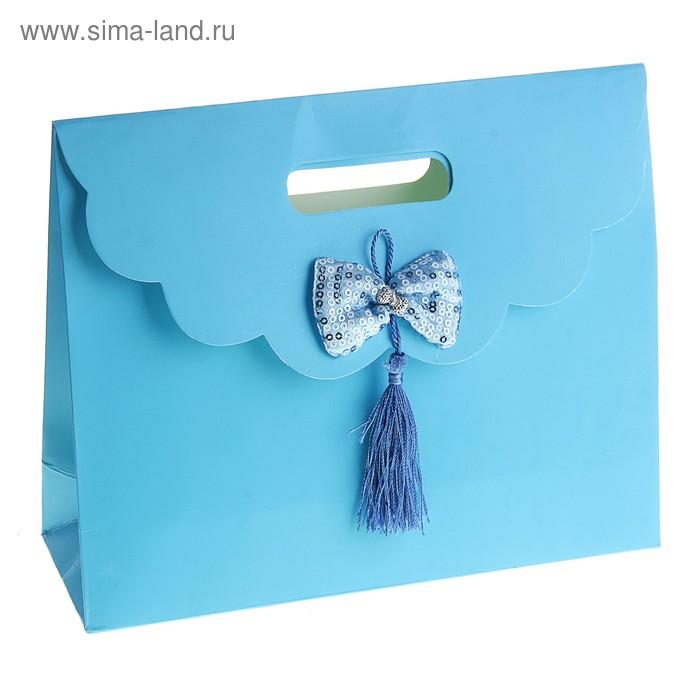 """Пакет с клапаном """"Бант текстильный"""", цвет голубой"""