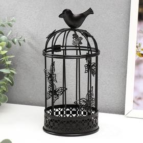 """Подсвечник металл 1 свеча """"Птица и клетка с бабочками"""" чёрный 21,5х10х10 см"""