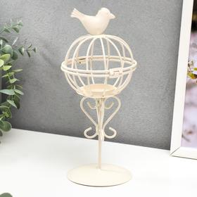 "Подсвечник металл 1 свеча ""Птица и гнездо"" белый 23х10х10 см"