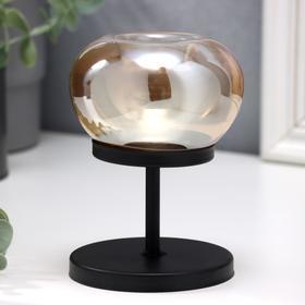 """Подсвечник металл, стекло на 1 свечу """"Куб с закруглёнными углами"""" чёрный 14х9,5х9,5 см"""