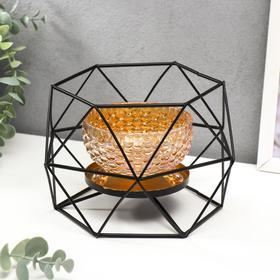 """Подсвечник металл,стекло на 1 свечу """"Паутина и шестиугольники"""" креманка, чёрный 12х19х16,5см   54140"""