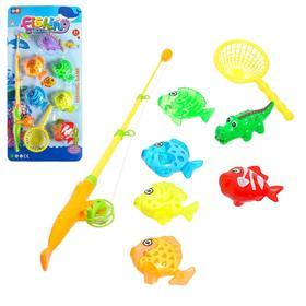 "Fishing ""Big catch"" 6 fish, 1 fishing rod, net, MIX"