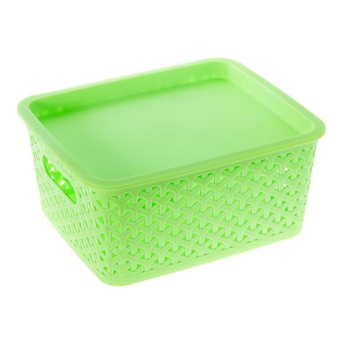 """Корзина для хранения """"Плетенка"""", цвет зеленый"""