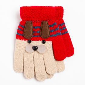 Перчатки детские, цвет красно-белый/собачка, размер 14 (2-5 лет)