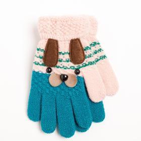 Перчатки детские, цвет сине-розовый/принт собачка, размер 14