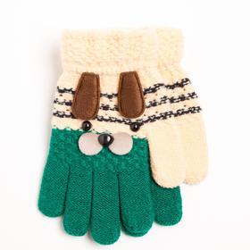Перчатки детские, цвет зелено-белый/принт собачка, размер 14