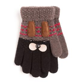 Children's gloves A.S 207-S (mix), color gray-black / doggy, size 14 (2-5 years)