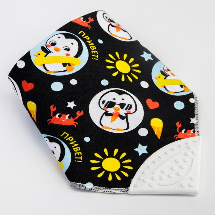 """Нагрудник -бандана непромокаемый """" Пингвин"""" на кнопке в наличии - фото 106205485"""