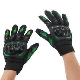 Перчатки для езды на мототехнике, с защитными вставками, пара, размер L, черно-зеленый