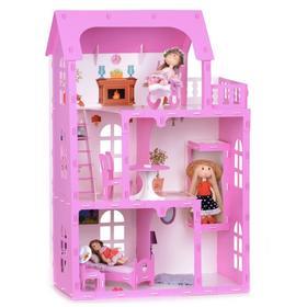 Домик для кукол «Дом Карина» с мебелью, цвет бело-розовый