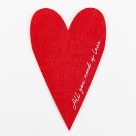 """Конверт для столовых приборов """"Сердце"""" красный, 13,8 х 22 см, 100% п/э, фетр"""