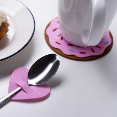 "Envelope for cutlery ""love"" pink, 5.4 x 5 cm, 100% p/e, felt"