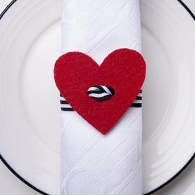 """Декор для салфетки """"Сердце"""" 5,4 х 5 см, 100% п/э, фетр"""