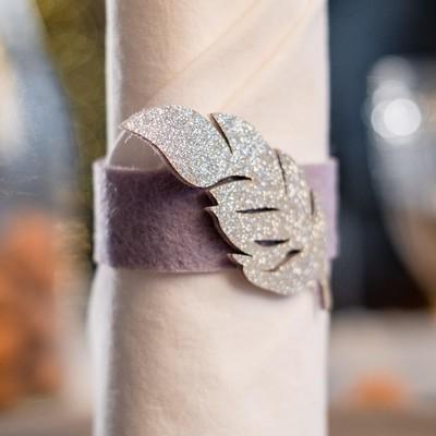 "Napkin ring ""Silver feather"" 4.8 x 6.5 cm, 100% p/e, felt"