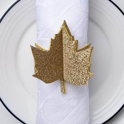 """Napkin ring """"golden leaf"""" 20.7 x 6.6 cm, 100% p-e, felt"""