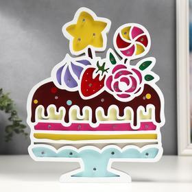 """Ночник """"Праздничный торт"""" 26хLED батарейки 2ААА 23,5х3,5х29,5 см"""
