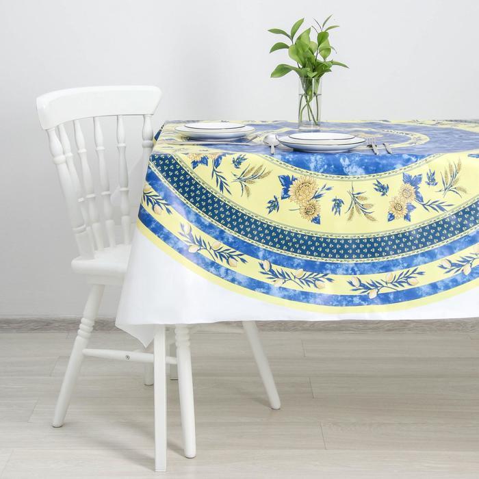 Клеёнка столовая ПВХ «Подсолнухи», 140×140 см, рулон 20 скатертей, цвет синий - фото 1791014