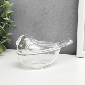 "Шкатулка стекло ""Птичка"" прозрачная 7х12х5,5 см"