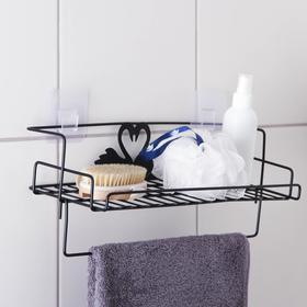 Полка с рейкой для полотенец Доляна, 37×15×8 см, цвет чёрный