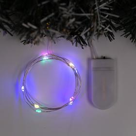"""Гирлянда """"Нить"""" 1 м роса, IP20, серебристая нить, 10 LED, свечение мульти, фиксинг, 2 х CR2032"""