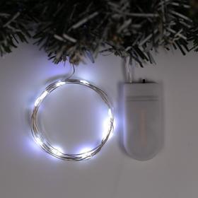 """Гирлянда """"Нить"""" 1 м роса, IP20, серебристая нить, 10 LED, свечение белое, фиксинг, 2 х CR2032"""