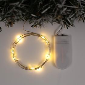 """Гирлянда """"Нить"""" 1 м роса, IP20, серебристая нить, 10 LED, свечение тёплое белое, фиксинг, 2 х CR2032"""