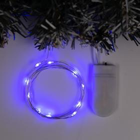 """Гирлянда """"Нить"""" 1 м роса, IP20, серебристая нить, 10 LED, свечение синее, фиксинг, 2 х CR2032"""