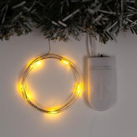 """Гирлянда """"Нить"""" 1 м роса, IP20, серебристая нить, 10 LED, свечение жёлтое, фиксинг, 2 х CR2032"""