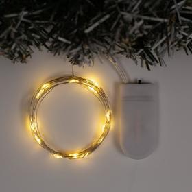 """Гирлянда """"Нить"""" 2 м роса, IP20, серебристая нить, 20 LED, свечение тёплое белое, фиксинг, 2 х CR2032"""