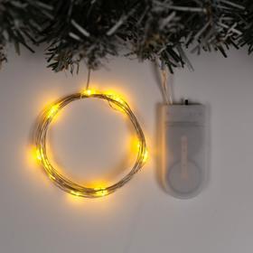"""Гирлянда """"Нить"""" 2 м роса, IP20, серебристая нить, 20 LED, свечение жёлтое, фиксинг, 2 х CR2032"""
