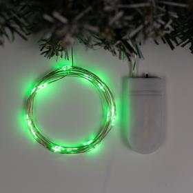 """Гирлянда """"Нить"""" 2 м роса, IP20, серебристая нить, 20 LED, свечение зелёное, фиксинг, 2 х CR2032"""