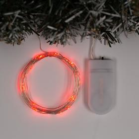 """Гирлянда """"Нить"""" 2 м роса, IP20, серебристая нить, 20 LED, свечение красное, фиксинг, 2 х CR2032"""