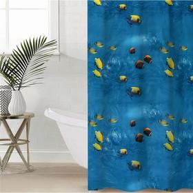 Штора для ванной комнаты Доляна «Рыбки», 180×180 см, EVA - фото 4654401